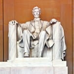 Statue of Abraham Lincoln in Memorial in Washington