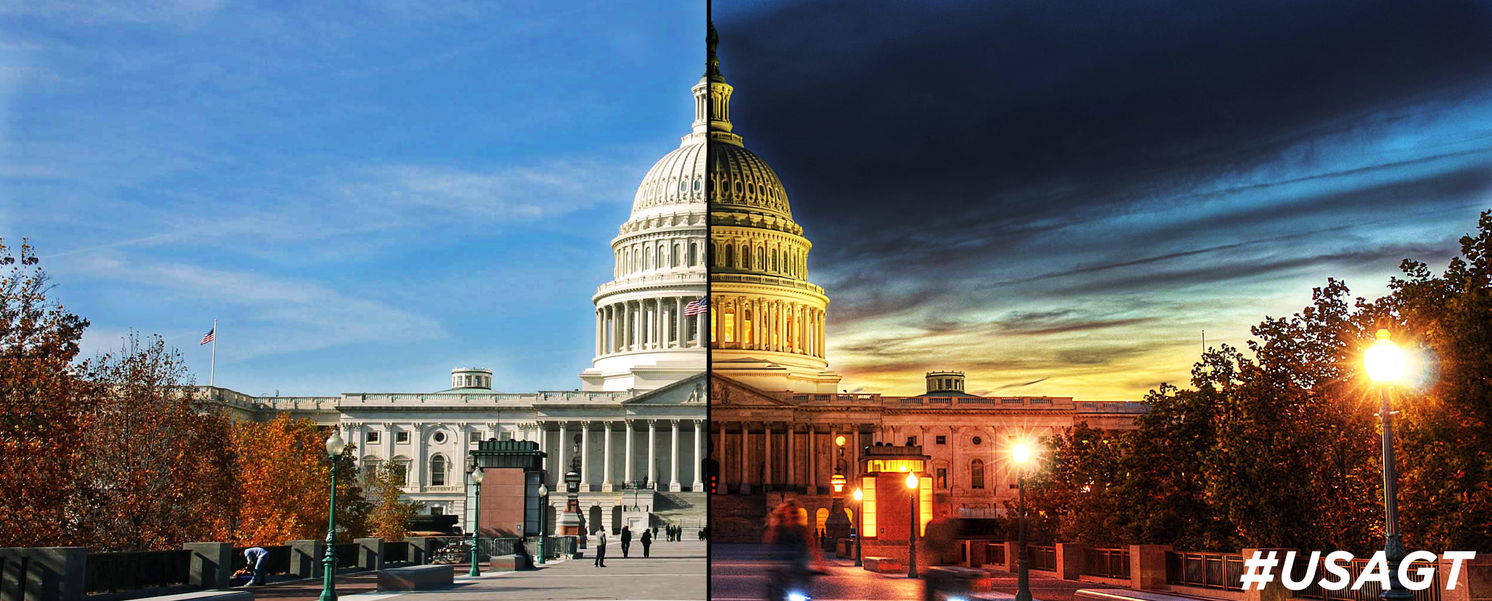 Capitol Building at Day & Night Time