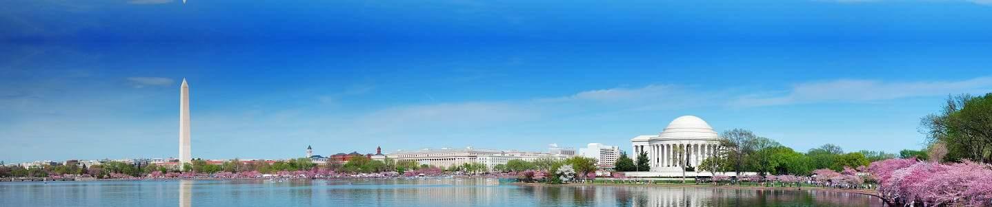 WASHINGTON DC Panorama of Jefferson Memorial & Washington Monument
