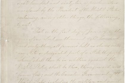 "Lincoln, Abraham. ""Emancipation Proclamation."" National Archives and Records Administration, 299998, January 1, 1863, https://catalog.archives.gov/id/299998"