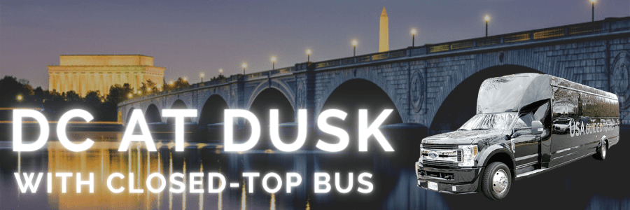 DC AT DUSK WITH CLOSED-TOP BUS