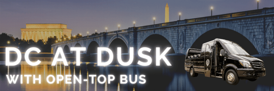 DC AT DUSK WITH OPEN-TOP CONVERTIBLE BUS